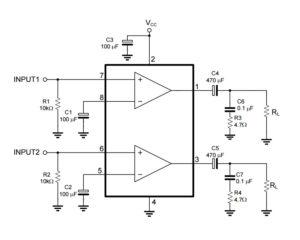 Схема включения TDA2822