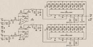 Схема стерео индикатора уровня сигнала LM3915