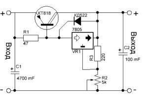 Принципиальная схема стабилизатора с регулировкой по напряжению LM317