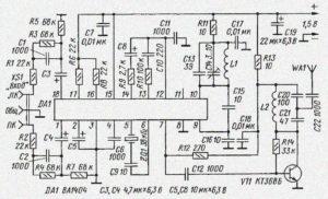 Принципиальная схема стерео FM УКВ-ЧМ передатчика на BA1404