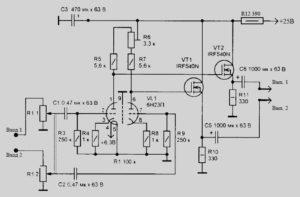 Схема гибридного стерео усилителя для наушников