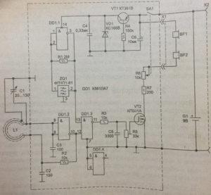 Схема простого металлоискателя, металлодетектора.