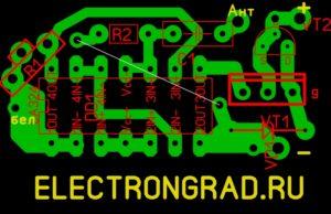 Печатная плата простого радио передатчика на микросхеме