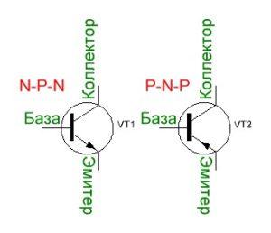 Схематическое изображение транзистора