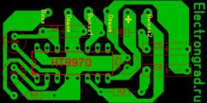 Печатная плата усилителя на TDA2822 в мостовом варианте