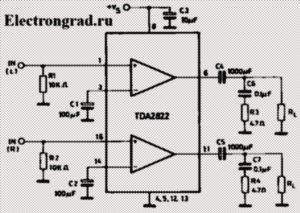 Схема усилителя на TDA2822