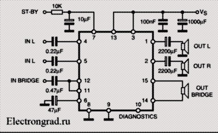 Схема простого усилителя 2.1 на TDA7379