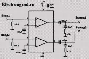 Схема простого усилителя для наушников 32 Ом на микросхеме TDA2822M,D