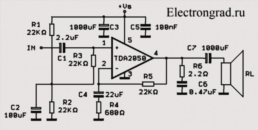 схема усилителя HI FI на TDA2050V с одно полярным питанием