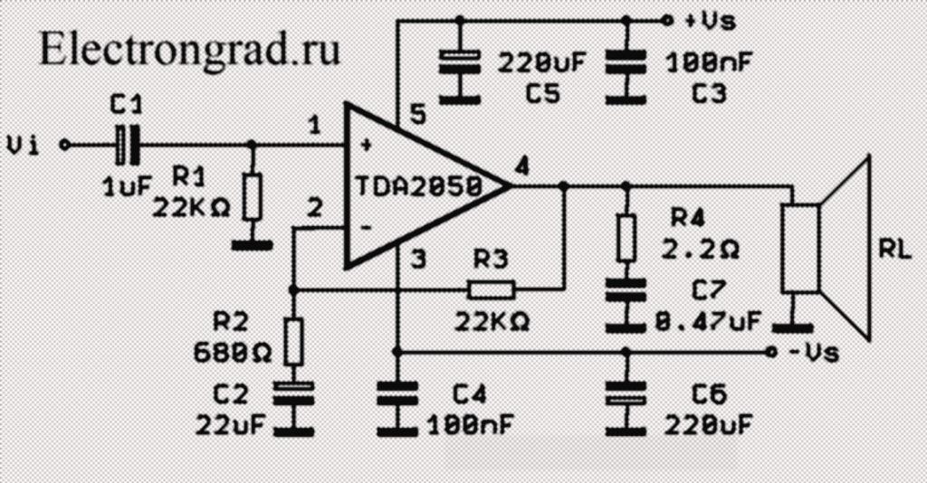 Схема HI FI класса AB усилителя 32 Вт на TDA2050
