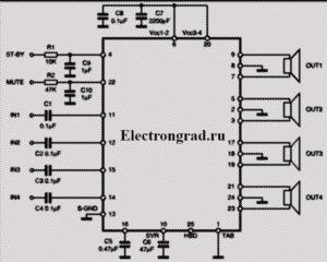 Схема четырехканального усилителя на TDA7388, TDA7560