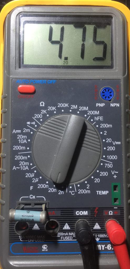 Пример измерения емкости конденсатора