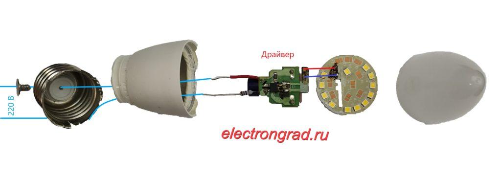 Схема LED лампы. Конструкция светодиодной лампы. Принцип работы LED лампы.