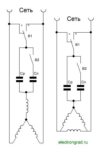 Схема подключения трехфазного двигателя в сеть 220 с реверсом